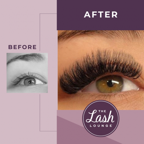 volume full set of eyelash extensions before and after