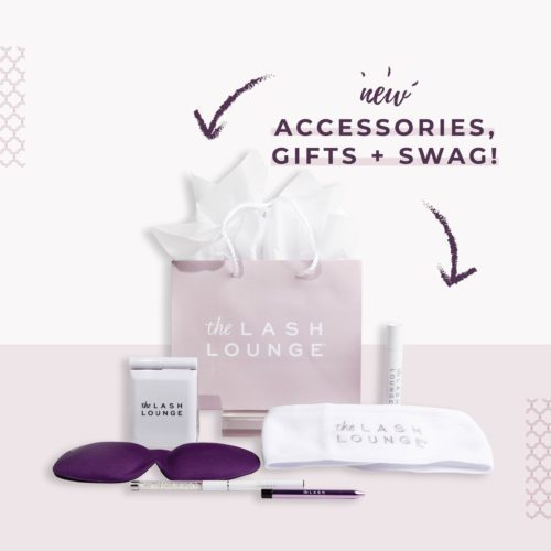 Accessories retail items featuring new gifts and swag from The Lash Lounge