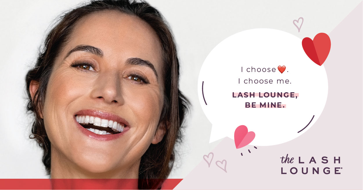middle-aged hispanic woman smiling with eyelash extensions from The Lash Lounge for Valentine's Day