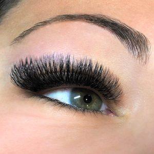 volume mink d curl eyelash extensions closeup
