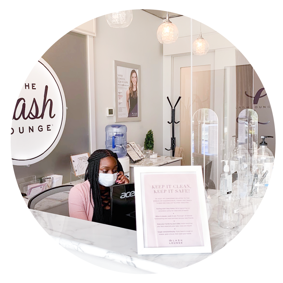 The Lash Lounge Receptionist With Covid Mask