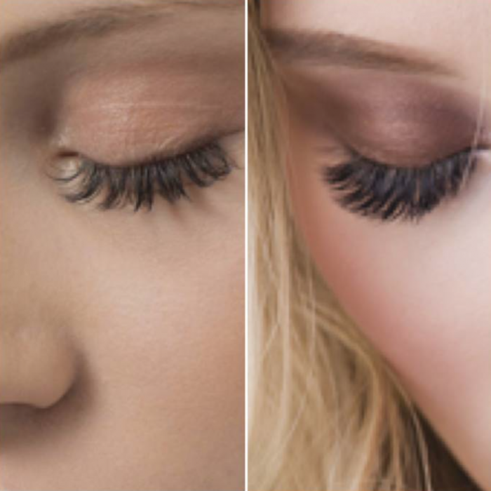 closeup of women's eyes showing classic and volume lash extensions