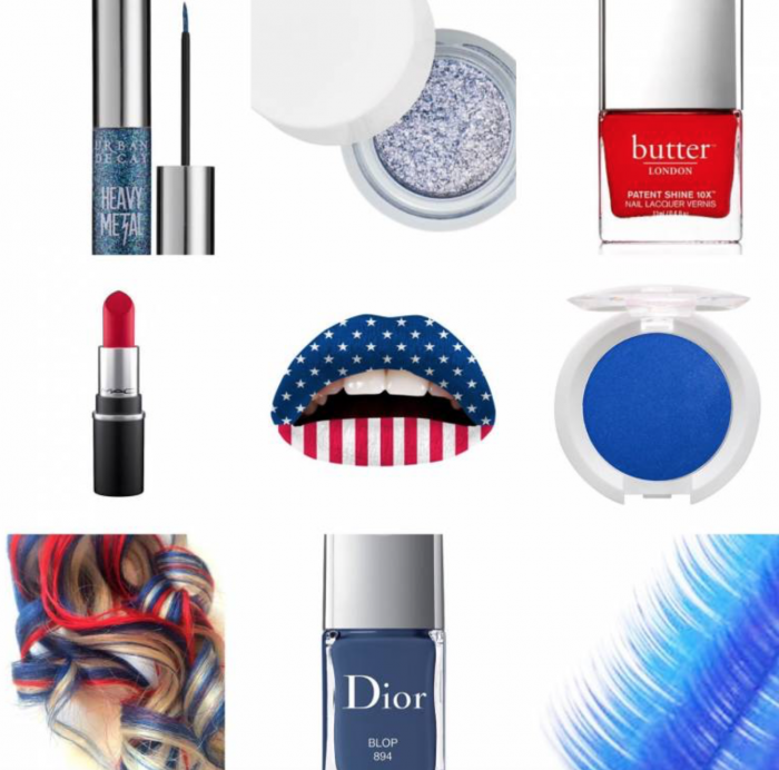 Red white and blue makeup products for the 4th of July
