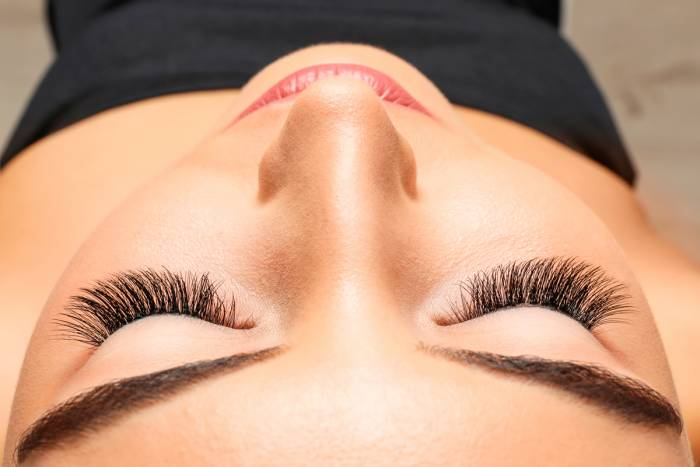Close up of eyes with lash extensions from The Lash Lounge
