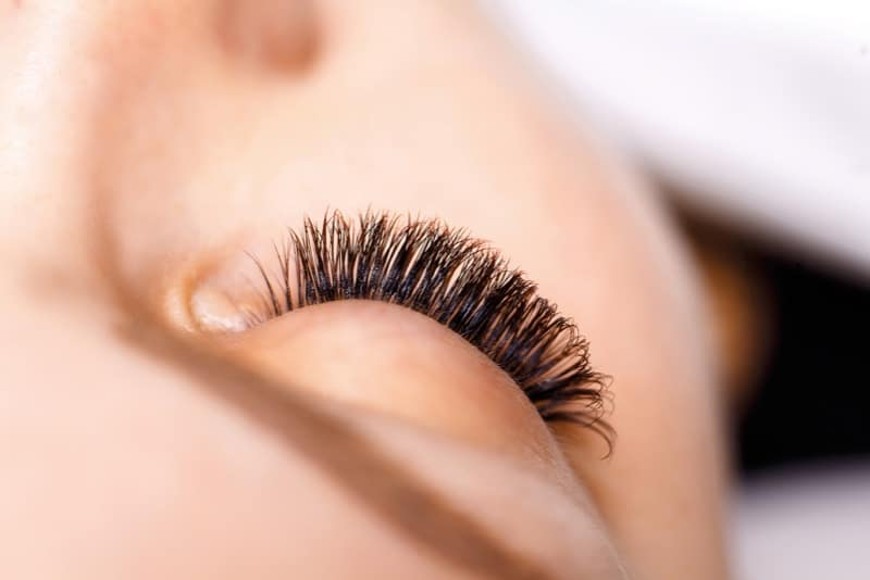 close up of eyelash extensions on a woman