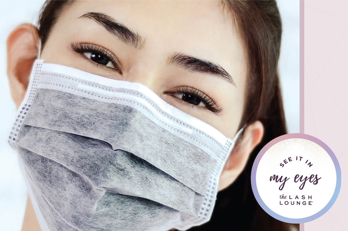 woman with mask and eyelash extensions from The Lash Lounge