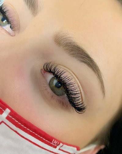 close-up of volume eyelash extensions on woman