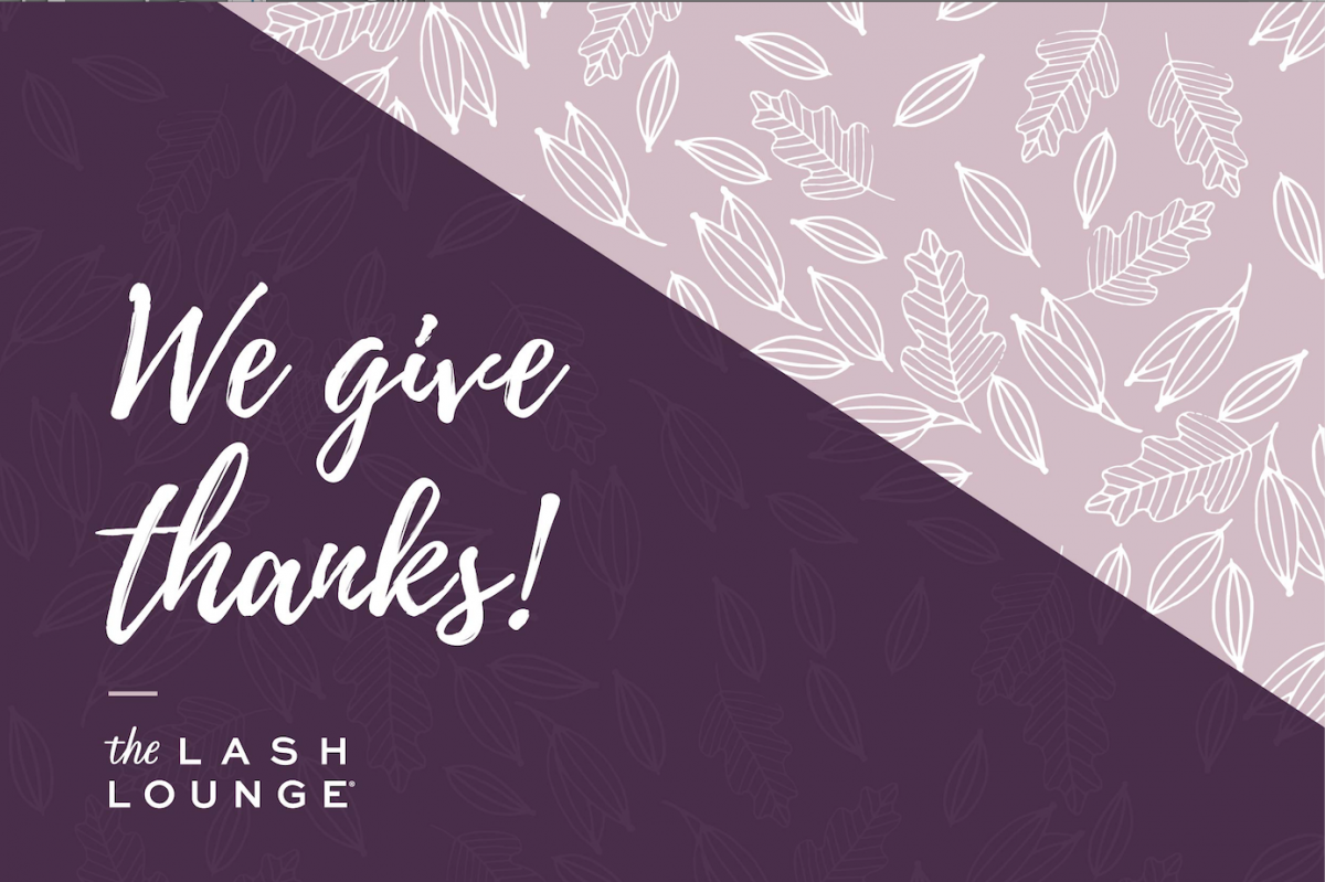 the lash lounge gives thanks