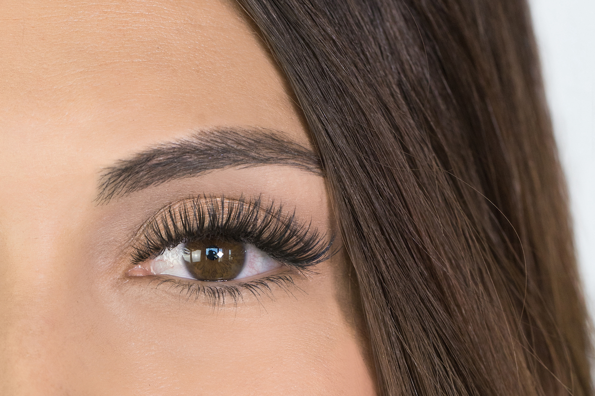 Woman with hybrid lashes at The Lash Lounge