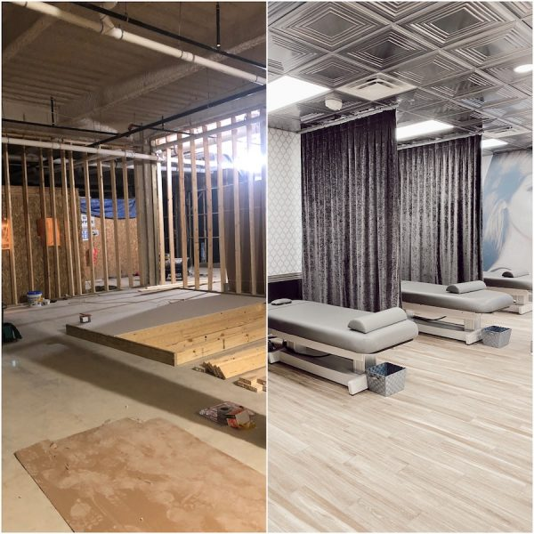 before and after photo of the inside of The Lash Lounge salon in Birmingham Michigan