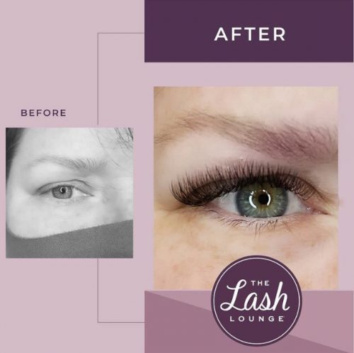 hybrid full set of eyelash extensions before and after