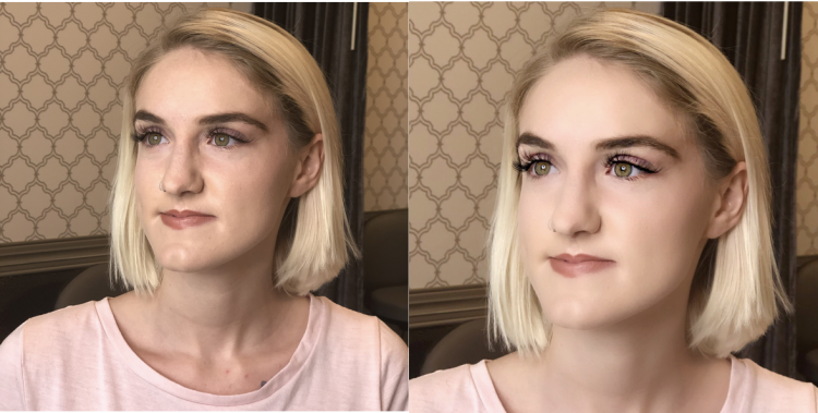 young blonde woman with lash extensions showing before and afters of her edited photos
