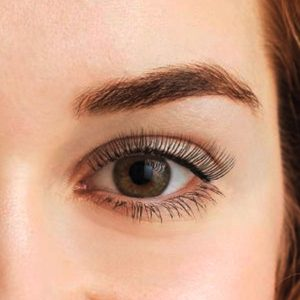 lash lift and tint closeup on eye