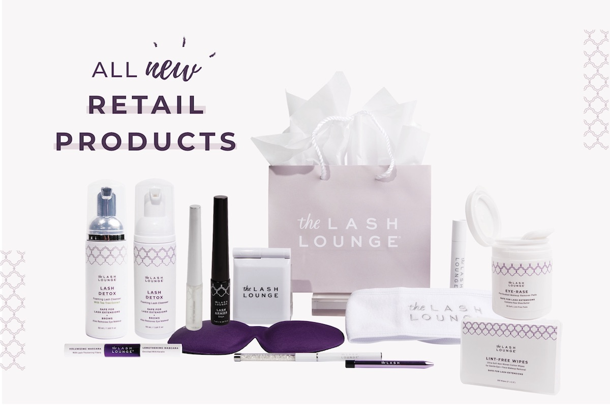 Retail products and accessories from The Lash Lounge featuring lash care, skincare, cosmetics and accessories