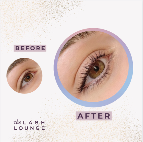 closeup of a woman's eye before and after a lash lift from The Lash Lounge