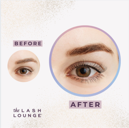 before and after closeup of a brow tint from The Lash Lounge