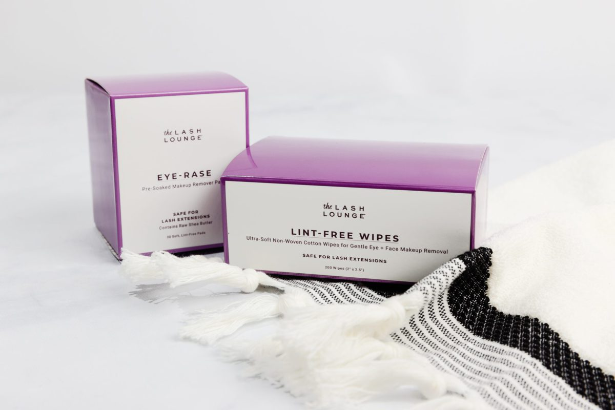 Skincare products showing Lint-free wipes and Eye-Rase makeup remover pads from The Lash Lounge